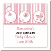 Shake, Rattle & Roll Pink - Personalized Baby Shower Card Stock Favor Tags