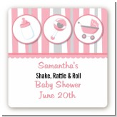 Shake, Rattle & Roll Pink - Square Personalized Baby Shower Sticker Labels