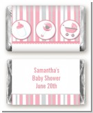 Shake, Rattle & Roll Pink - Personalized Baby Shower Mini Candy Bar Wrappers