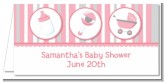 Shake, Rattle & Roll Pink - Personalized Baby Shower Place Cards