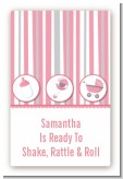 Shake, Rattle & Roll Pink - Custom Large Rectangle Baby Shower Sticker/Labels