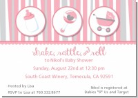 Shake, Rattle & Roll Pink - Baby Shower Invitations