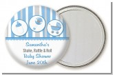 Shake, Rattle & Roll Blue - Personalized Baby Shower Pocket Mirror Favors