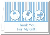 Shake, Rattle & Roll Blue - Baby Shower Thank You Cards