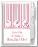 Shake, Rattle & Roll Pink - Baby Shower Personalized Notebook Favor