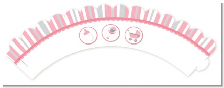 Shake, Rattle & Roll Pink - Baby Shower Cupcake Wrappers