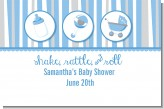 Shake, Rattle & Roll Blue - Personalized Baby Shower Placemats