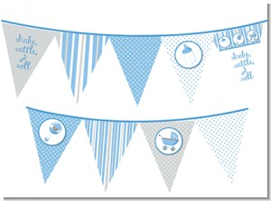 Shake, Rattle & Roll Blue - Baby Shower Themed Pennant Set