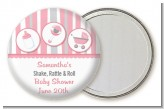 Shake, Rattle & Roll Pink - Personalized Baby Shower Pocket Mirror Favors