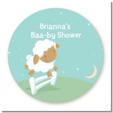 Sheep - Round Personalized Baby Shower Sticker Labels