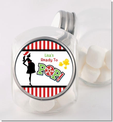 She's Ready To Pop Christmas Edition - Personalized Baby Shower Candy Jar