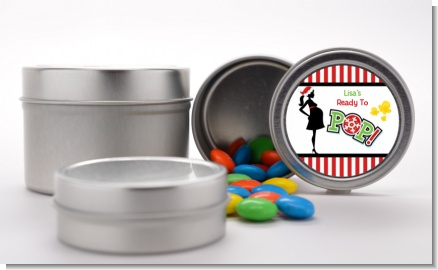 She's Ready To Pop Christmas Edition - Custom Baby Shower Favor Tins
