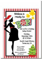 She's Ready To Pop Christmas Edition - Baby Shower Petite Invitations