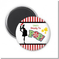 She's Ready To Pop Christmas Edition - Personalized Baby Shower Magnet Favors