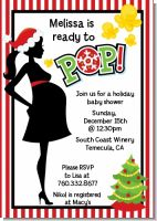 She's Ready To Pop Christmas Edition - Baby Shower Invitations