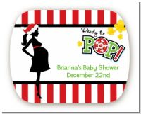 She's Ready To Pop Christmas Edition - Personalized Baby Shower Rounded Corner Stickers