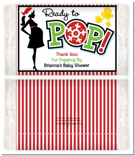 She's Ready To Pop Christmas Edition - Personalized Popcorn Wrapper Baby Shower Favors