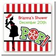 She's Ready To Pop Christmas Edition - Square Personalized Baby Shower Sticker Labels thumbnail