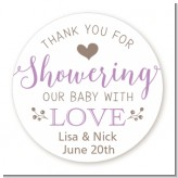 Showering With Love - Round Personalized Baby Shower Sticker Labels