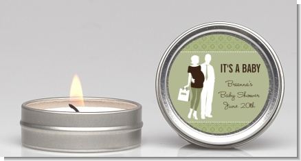 Silhouette Couple | It's a Baby Neutral - Baby Shower Candle Favors