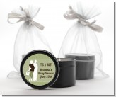 Silhouette Couple | It's a Baby Neutral - Baby Shower Black Candle Tin Favors