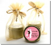 Silhouette Couple | It's a Girl - Baby Shower Gold Tin Candle Favors