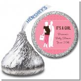 Silhouette Couple | It's a Girl - Hershey Kiss Baby Shower Sticker Labels