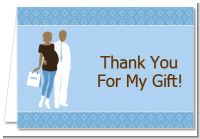 Silhouette Couple African American It's a Boy - Baby Shower Thank You Cards