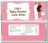 Silhouette Couple African American It's a Girl - Personalized Baby Shower Candy Bar Wrappers