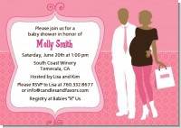 Silhouette Couple African American It's a Girl - Baby Shower Invitations