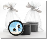 Silhouette Couple BBQ Boy - Baby Shower Black Candle Tin Favors