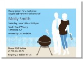 Silhouette Couple BBQ Boy - Baby Shower Petite Invitations