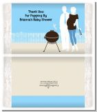 Silhouette Couple BBQ Boy - Personalized Popcorn Wrapper Baby Shower Favors