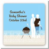 Silhouette Couple BBQ Boy - Square Personalized Baby Shower Sticker Labels