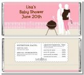 Silhouette Couple BBQ Girl - Personalized Baby Shower Candy Bar Wrappers