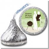 Silhouette Couple BBQ Neutral - Hershey Kiss Baby Shower Sticker Labels