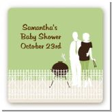 Silhouette Couple BBQ Neutral - Square Personalized Baby Shower Sticker Labels