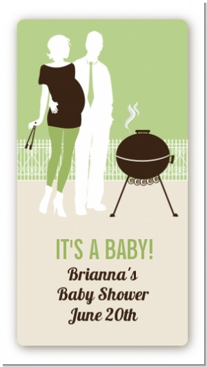 Silhouette Couple BBQ Neutral - Custom Rectangle Baby Shower Sticker/Labels