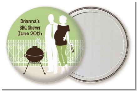 Silhouette Couple BBQ Neutral - Personalized Baby Shower Pocket Mirror Favors