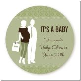 Silhouette Couple | It's a Baby Neutral - Round Personalized Baby Shower Sticker Labels