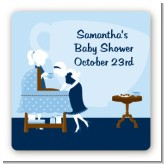 Sip and See It's a Boy - Square Personalized Baby Shower Sticker Labels