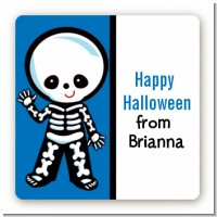 Skeleton - Square Personalized Halloween Sticker Labels