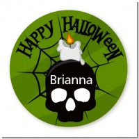 Skull and candle - Round Personalized Halloween Sticker Labels