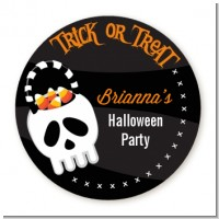 Skull Treat Bag - Round Personalized Halloween Sticker Labels