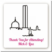 Boston Skyline - Square Personalized Bridal Shower Sticker Labels