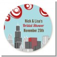 Chicago Skyline - Round Personalized Bridal Shower Sticker Labels thumbnail