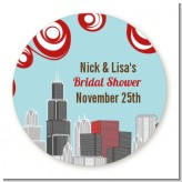 Chicago Skyline - Round Personalized Bridal Shower Sticker Labels