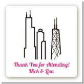 Chicago Skyline - Square Personalized Bridal Shower Sticker Labels