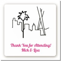 Los Angeles Skyline - Square Personalized Bridal Shower Sticker Labels