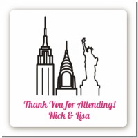 New York Skyline - Square Personalized Bridal Shower Sticker Labels
